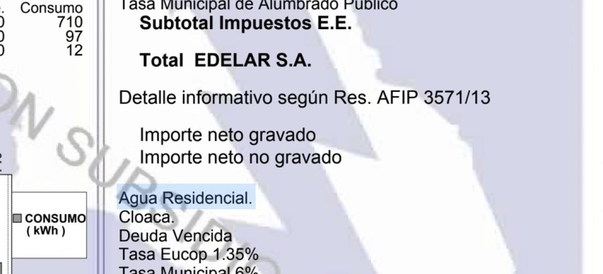 Tarifas. Darán de baja la tasa del EUCOP de la boleta de EDELaR