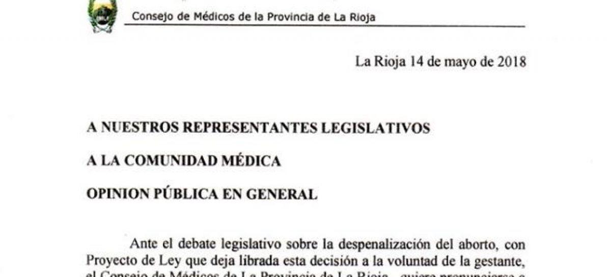 El Consejo Médico de La Rioja expresó su rechazo al aborto legal