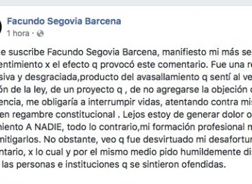 Segovia Barcena pidió disculpas, pero ratificó su rechazo al aborto legal