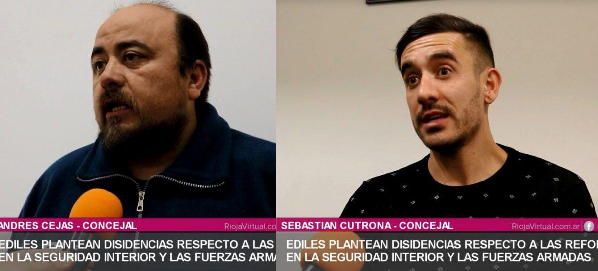 Cejas y Cutrona repudian la reforma de las Fuerzas Armadas