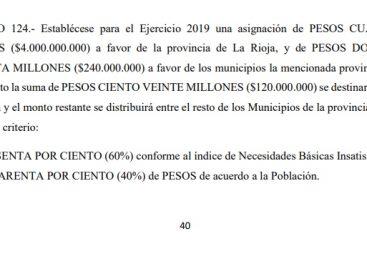 $4.000 millones de fondos extra coparticipables para La Rioja