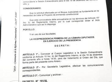 Se confirmó la sesión extraordinaria para tratar la enmienda constitucional