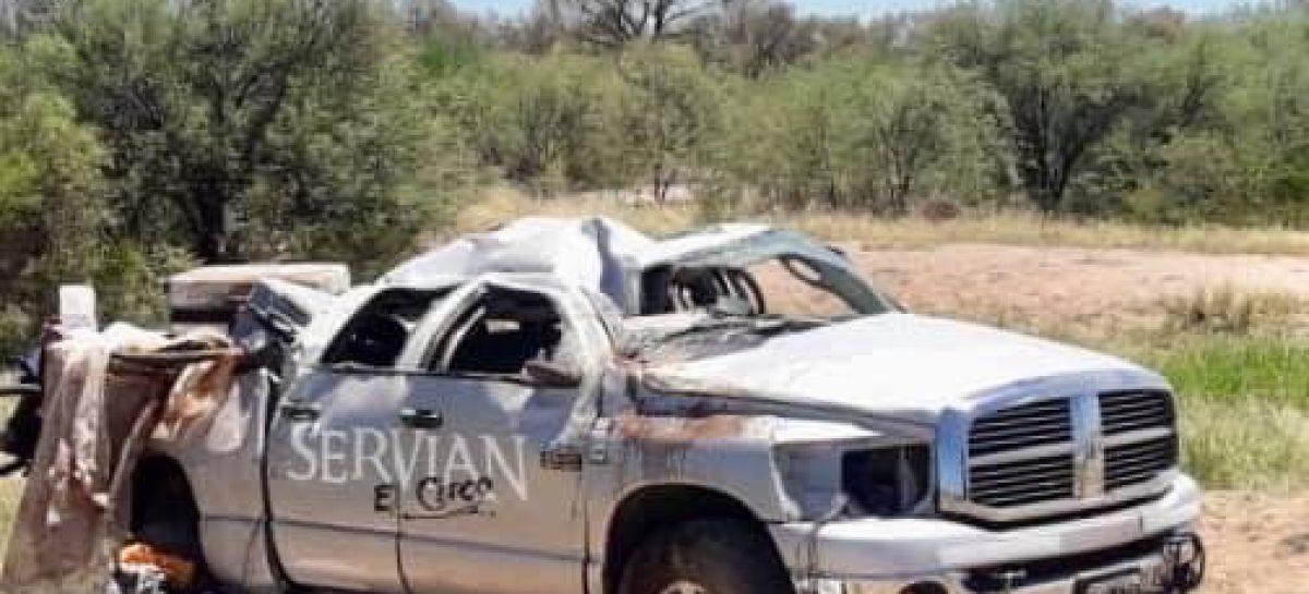 Volcó camioneta de un circo: tres menores con múltiples fracturas