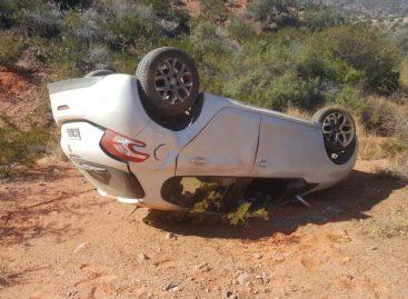 Perdió el control de su auto y volcó camino a Sanagasta