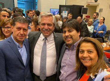 Sergio Casas junto a Alberto Fernández en reunión del PJ