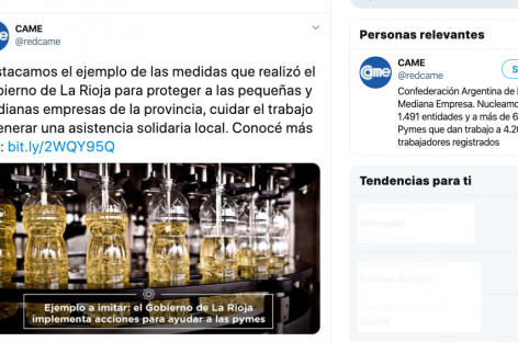 """CORONAVIRUS. CAME TILDÓ DE """"EJEMPLO"""" LAS MEDIDAS DE PROTECCIÓN DE LA RIOJA A SUS PYMES"""