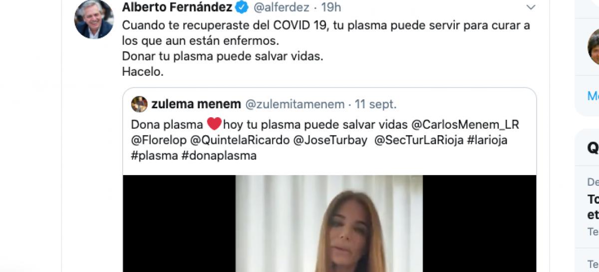 DONÁ PLASMA. EL MENSAJE DE ZULEMITA QUE COMPARTIÓ ALBERTO FERNÁNDEZ
